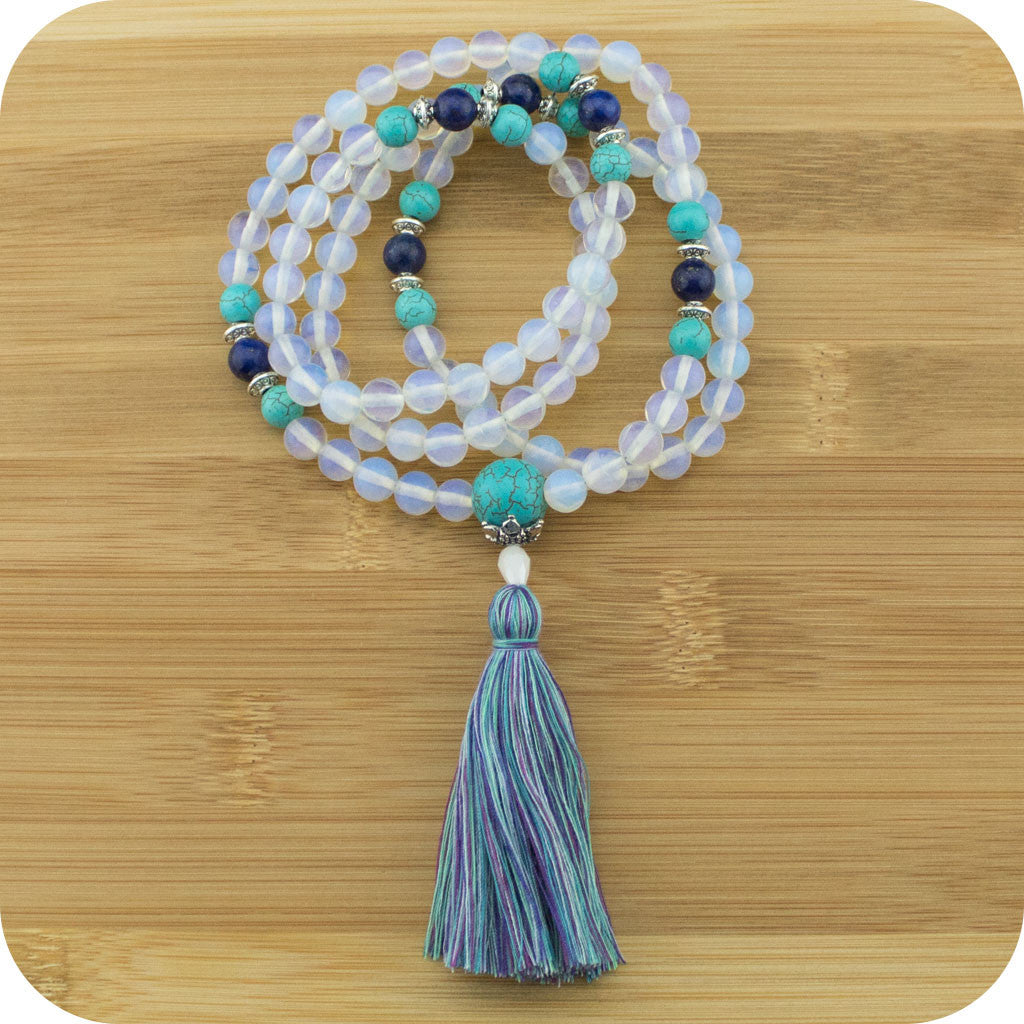 Opalite Meditation Mala Necklace with Turquoise Howlite & Lapis Lazuli - Meditative Wisdom