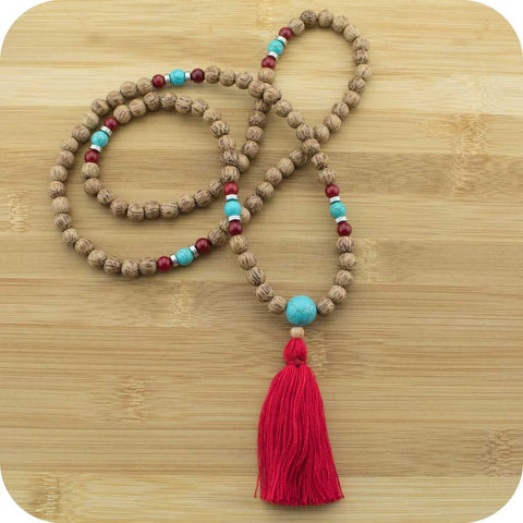 Palmwood Meditation Mala Beads Necklace with Turquoise Magnesite & Red Bamboo Coral - Meditative Wisdom