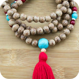 Mala Beads Necklace with Palmwood & Turquoise Magnesite & Red Bamboo Coral - Meditative Wisdom