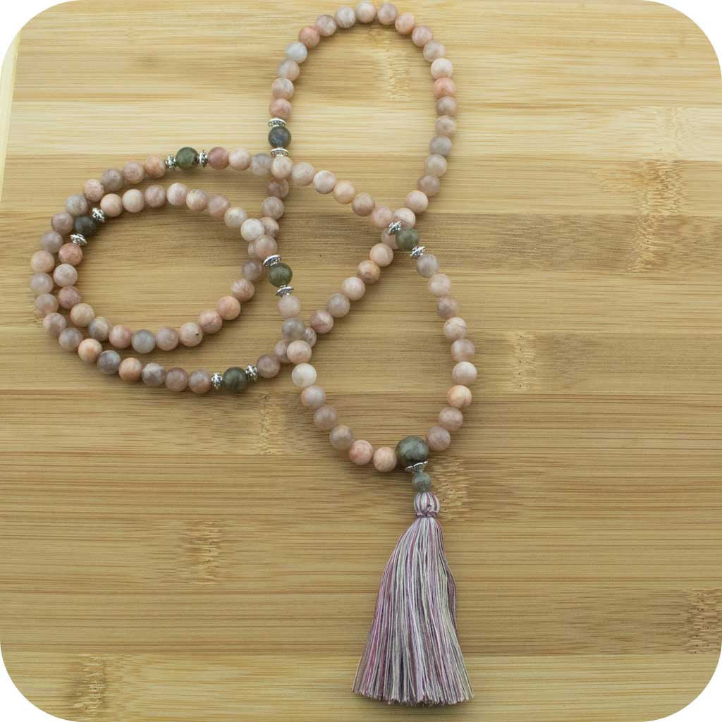 Peach Moonstone Meditation Mala Beads Necklace with Antique Glass - Meditative Wisdom