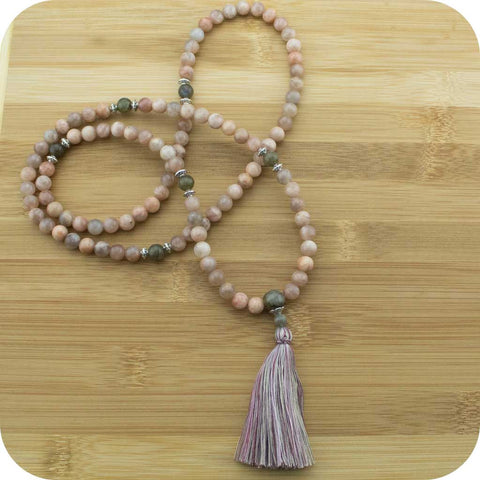 Peach Moonstone with Antique Glass - Meditative Wisdom
