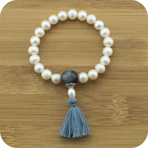 Freshwater Pearl Wrist Mala Bracelet with Blue Tigers Eye - Meditative Wisdom