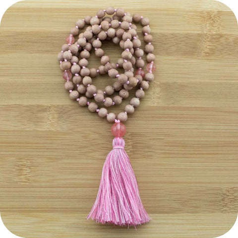 Knotted Philippine Rosewood Meditation Mala Beads Necklace with Cherry Quartz - Meditative Wisdom