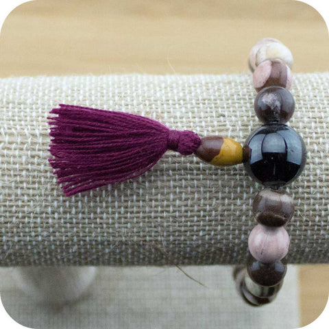 Picture Jasper Wrist Mala with Red Garnet - Meditative Wisdom