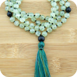 Hand Knotted Prehnite Yoga Beads Necklace with Matte Black Onyx - Meditative Wisdom