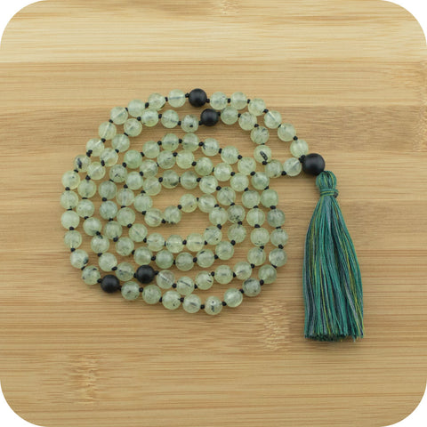 Hand Knotted Prehnite Mantra Beads Necklace with Matte Black Onyx - Meditative Wisdom