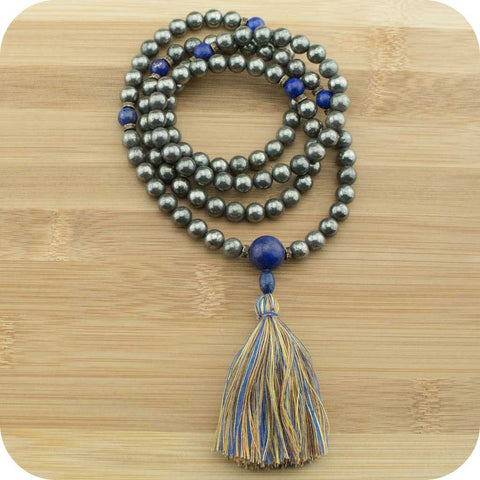 Golden Pyrite Mala Necklace with Lapis Lazuli - Meditative Wisdom
