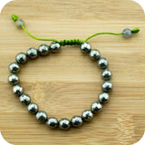 Faceted Pyrite Wrist Mala Bracelet with Jade - Meditative Wisdom