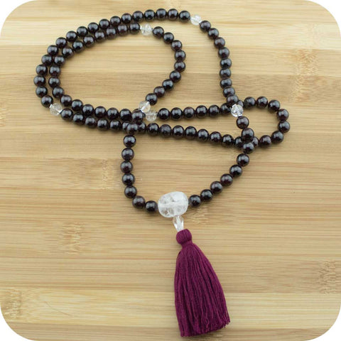 Red Garnet Meditation Mala Necklace with Ice Quartz Crystal - Meditative Wisdom