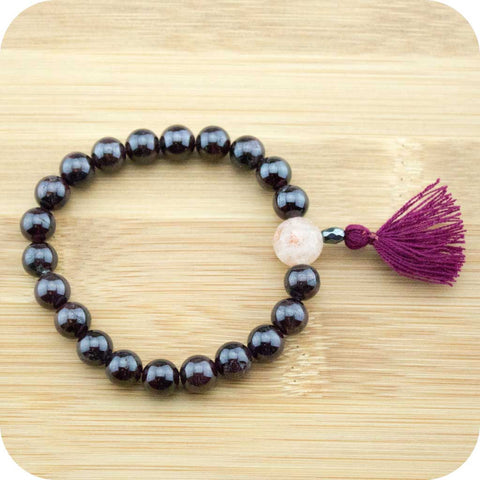 Red Garnet Mala Beads Bracelet with Sunstone - Meditative Wisdom