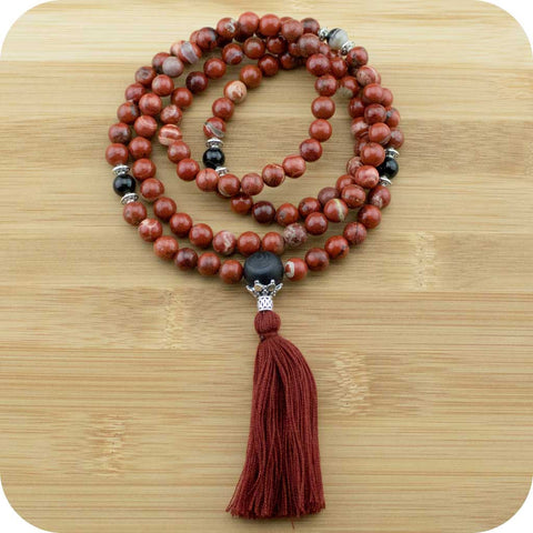 Red Jasper Meditation Mala Beads Necklace with Black Sardonyx Agate - Meditative Wisdom