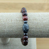 Red Tigers Eye Yoga Jewelry Bracelet with Black Labradorite - Meditative Wisdom