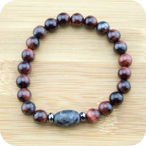 Red Tigers Eye Wrist Mala Bracelet with Black Labradorite - Meditative Wisdom