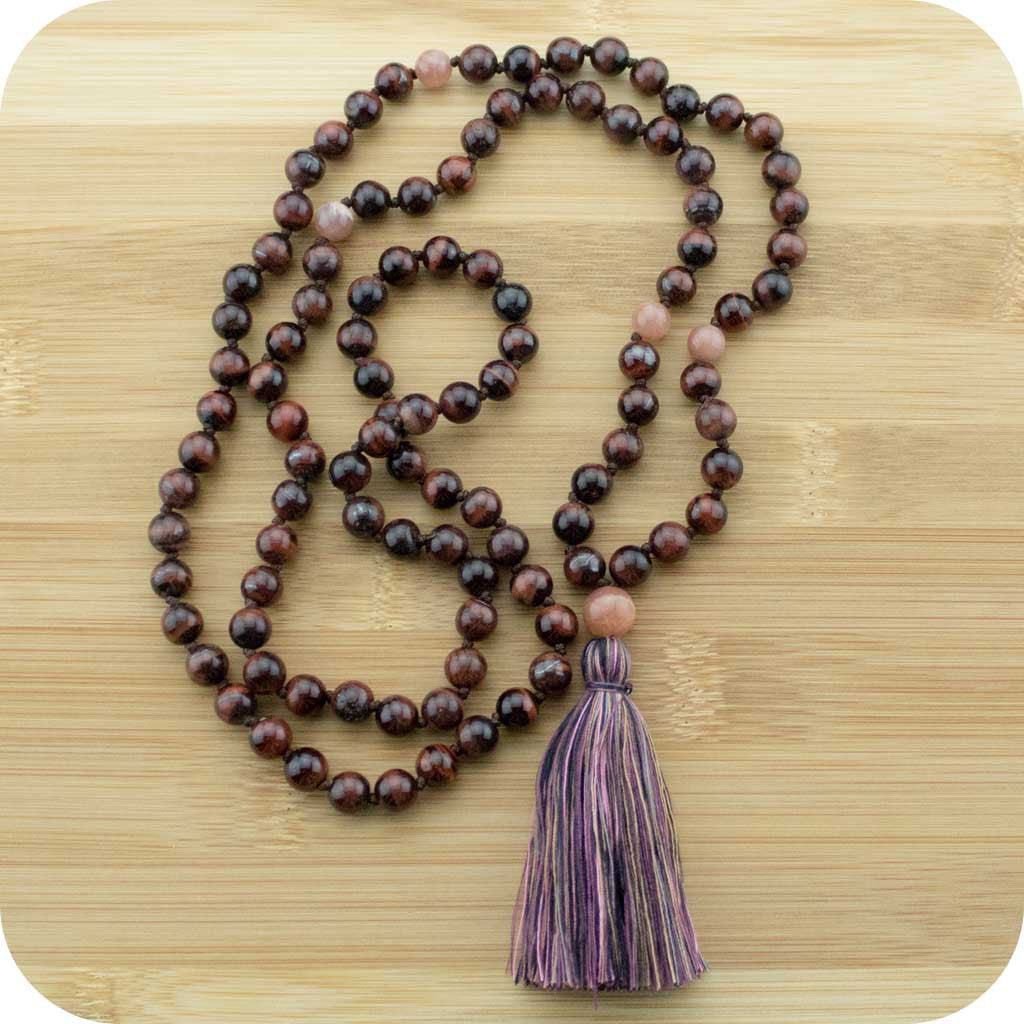 Knotted Red Tigers Eye Meditation Mala Beads Necklace with Peach Moonstone - Meditative Wisdom