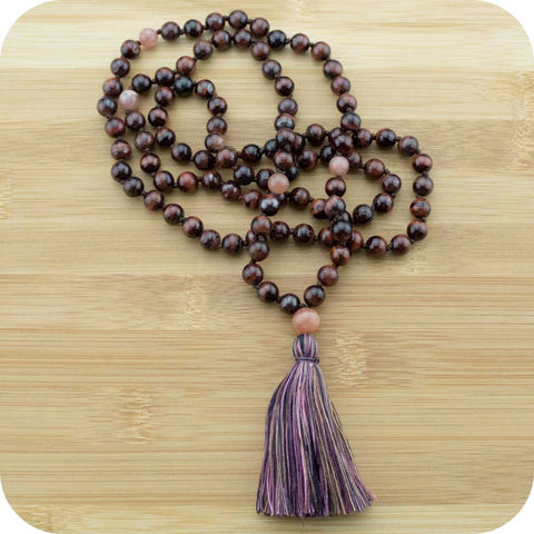Hand Knotted Red Tigers Eye Yoga Mala Necklace with Peach Moonstone - Meditative Wisdom