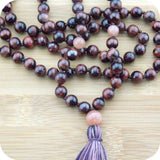Hand Knotted Red Tigers Eye Yoga Mala Necklace with Peach Moonstone