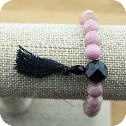 Rhodonite Wrist Mala Bracelet with Faceted Black Onyx - Meditative Wisdom