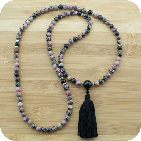 Rhodonite Mala Beads Necklace with Black Onyx - Meditative Wisdom