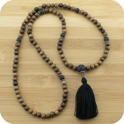 Robles Wood Meditation Mala Beads Necklace with Lava Rock - Meditative Wisdom