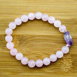 Rose Quartz Wrist Mala Bracelet with Amethyst - Meditative Wisdom