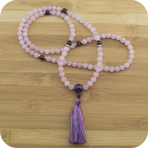 Rose Quartz Mala Bead Necklace with Amethyst - Meditative Wisdom