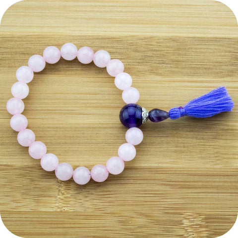 Rose Quartz Wrist Mala Bracelet with Amethyst and Purple Tassel - Meditative Wisdom