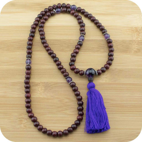 Rosewood Meditation Mala Necklace with Amethyst - Meditative Wisdom