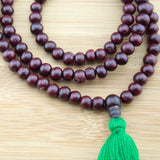 Rosewood Meditation Mala Beads with Green Tassel - Meditative Wisdom
