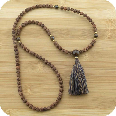 Rudraksha Meditation Mala Beads Necklace with Bronzite - Meditative Wisdom