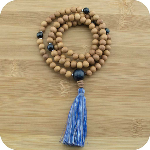 Sandalwood Mala Beads Necklace with Blue Tigers Eye - Meditative Wisdom