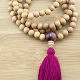 Sandalwood Mala with Red Tigers Eye - Meditative Wisdom