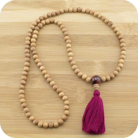 Sandalwood Meditation Mala Beads with Red Tigers Eye - Meditative Wisdom