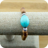 Sandalwood Yoga Jewelry Bracelet with Turquoise Magnesite - Meditative Wisdom
