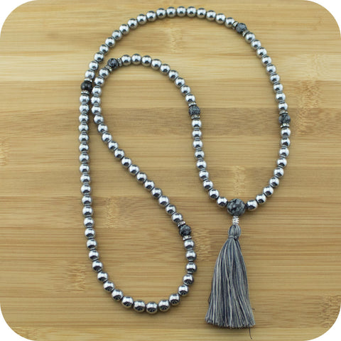 Silver Hematite Mala Beads Necklace with Snowflake Obsidian - Meditative Wisdom