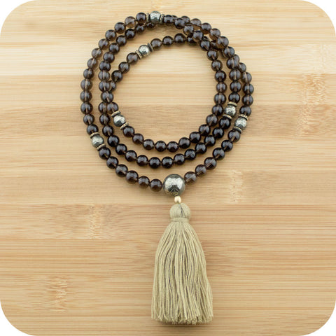 Smoky Quartz Mala Beads Necklace with Faceted Golden Hematite & Antique Glass - Meditative Wisdom