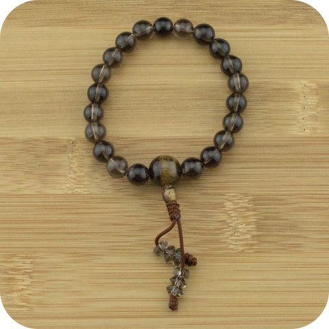 Smoky Quartz Wrist Mala Bracelet with Tigers Eye - Meditative Wisdom