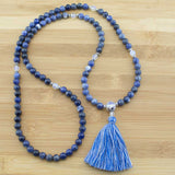 Sodalite Mala Bead Necklace with Faceted Opalite - Meditative Wisdom