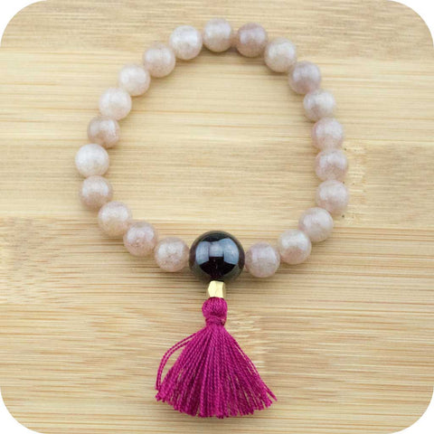Strawberry Quartz Mala Beads Bracelet with Garnet - Meditative Wisdom