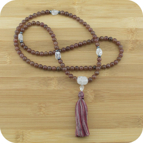 Strawberry Quartz Mala with Ice Quartz Crystal - Meditative Wisdom