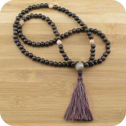 Meditation Mala Necklace with Tiger Ebony Wood & Peach Moonstone - Meditative Wisdom