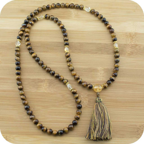 Tigers Eye Meditation Mala Necklace with Citrine - Meditative Wisdom