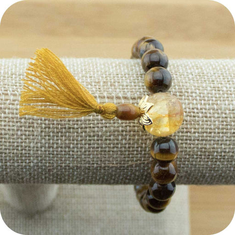 Tigers Eye Mala Bracelet with Citrine - Meditative Wisdom
