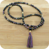 Multi-Colored Tourmaline Mala with Golden Hematite - Meditative Wisdom