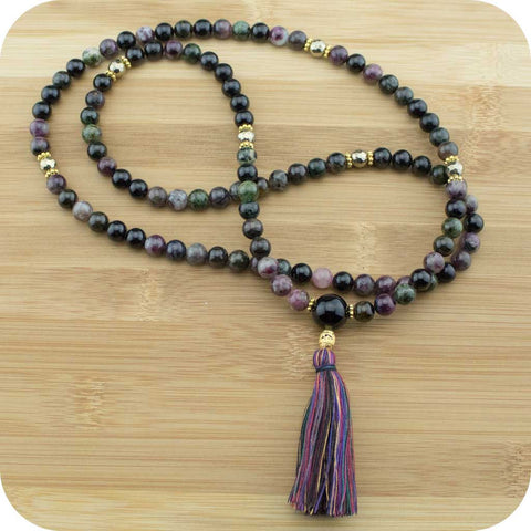 Multi-Colored Tourmaline Meditation Mala Necklace with Golden Hematite - Meditative Wisdom