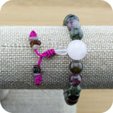 Multi-Colored Tourmaline Wrist Mala Bracelet with Rose Quartz - Meditative Wisdom