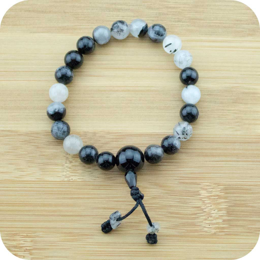 Tourmilated Quartz Crystal Wrist Mala Bracelet with Black Onyx - Meditative Wisdom