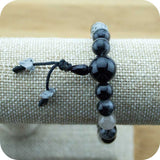 Tourmilated Quartz Crystal Buddhist Mala Bracelet with Black Onyx - Meditative Wisdom