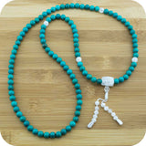 Turquoise Howlite Buddhist Prayer Necklace with Ice Crystal Quartz - Meditative Wisdom