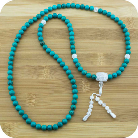 Turquoise Howlite Buddhist Prayer Beads Mala Necklace with Ice Crystal Quartz - Meditative Wisdom