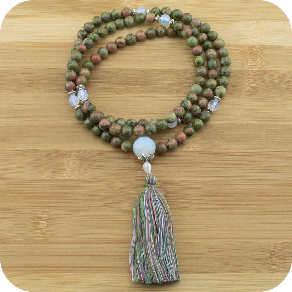 Unakite Mala Beads Necklace with Faceted Opalite - Meditative Wisdom